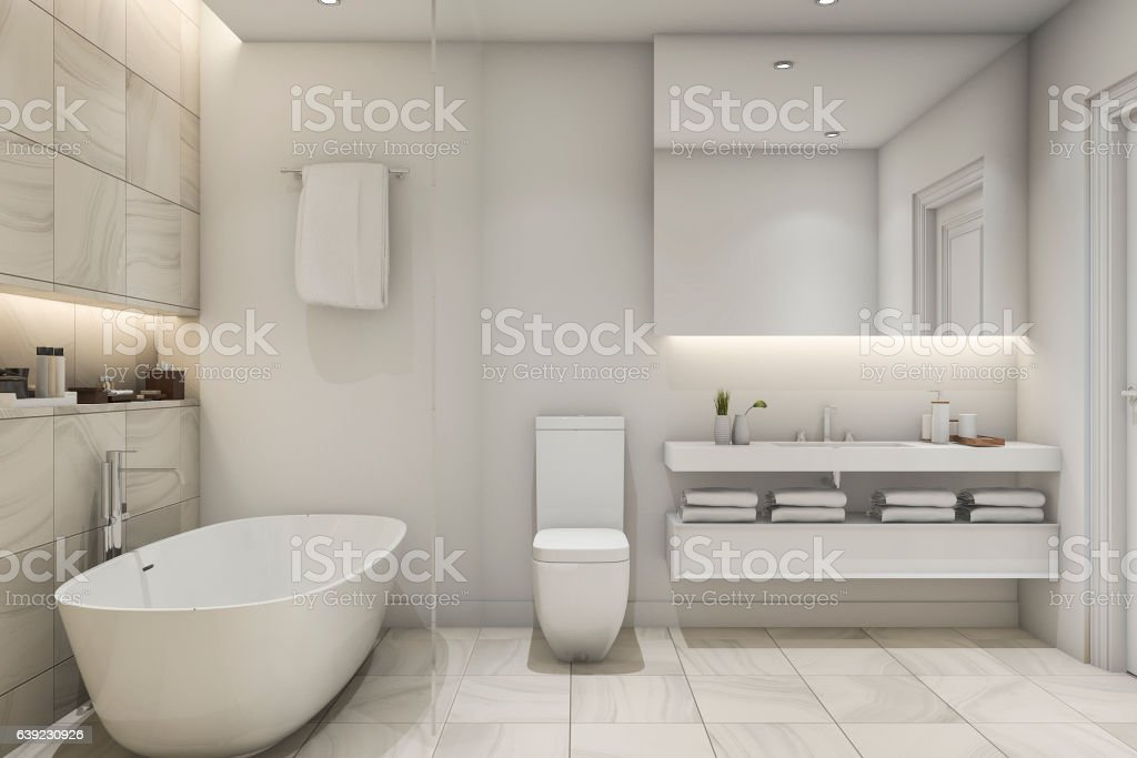 3d rendering white tile marble luxury bathroom - foto de acervo