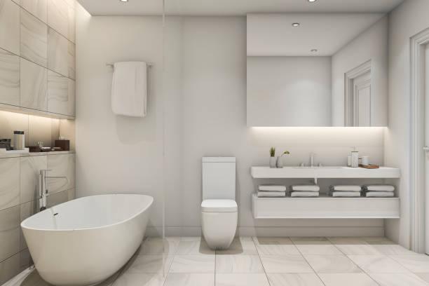 3d rendering white tile marble luxury bathroom - minimalbadezimmer stock-fotos und bilder