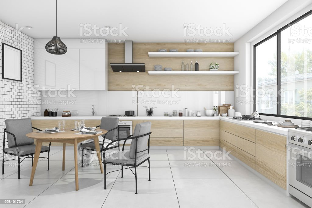 3d Cocina Vintage De Representación Blanco Con Mesa De ...