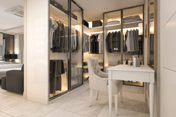 3d rendering white walk in schrank mit goldenen dekor in der nähe von schlafzimmer - garderobe mit schuhschrank stock-fotos und bilder