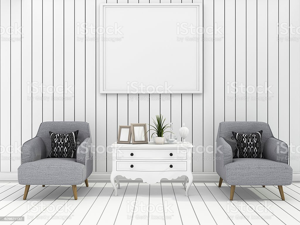3d Rendering White Wall Living Room With Clean Furniture Stock Photo ...