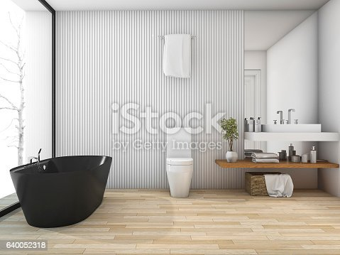 istock 3d rendering white wood bathroom near window in winter 640052318
