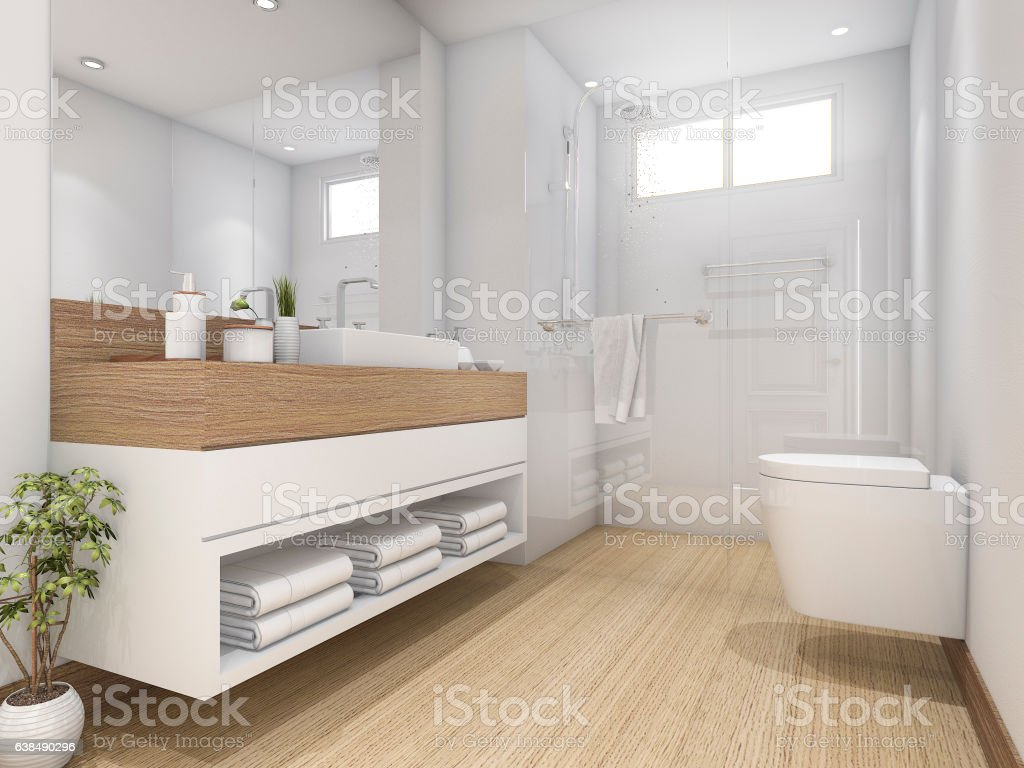 3d Rendering White Wood Design Bathroom And Toilet Stock Photo ...
