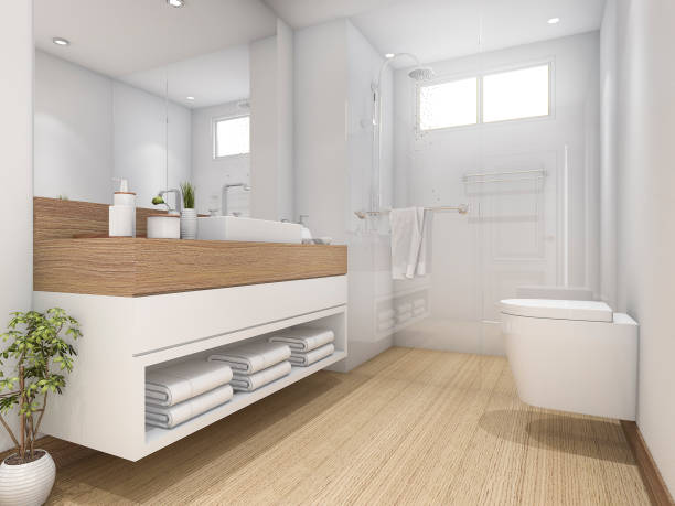 3d rendering white wood design bathroom and toilet - dusch accessoires stock-fotos und bilder