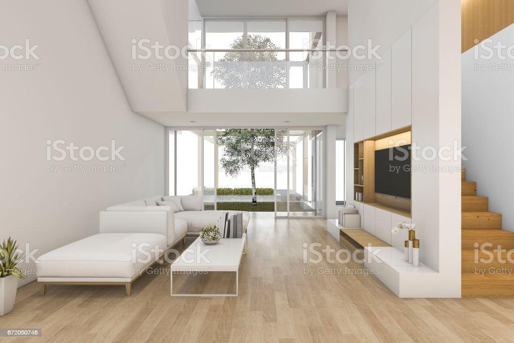 3D Render blanco madera sala de estar cerca de la escalera y al aire libre - foto de stock