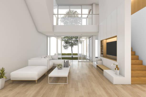 3 d レンダリング ホワイト木製リビング ルームと屋外階段付近 - 天井 ストックフォトと画像