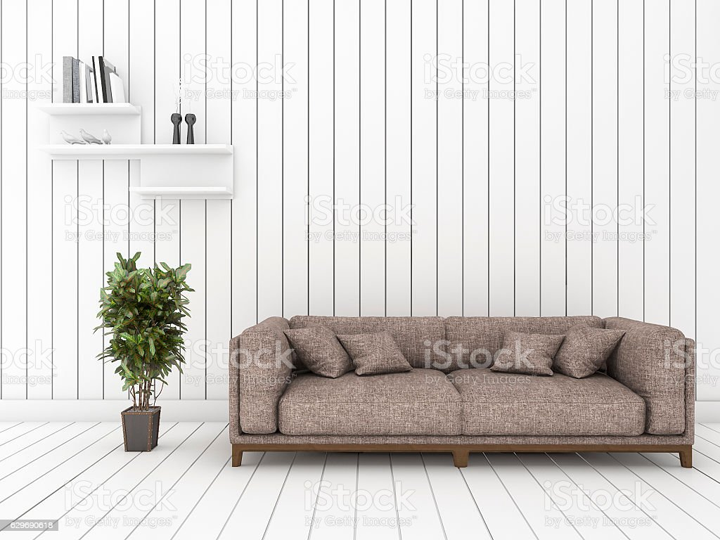 3d Rendering White Wood Living Room With Minimal Sofa Royalty Free Stock  Photo