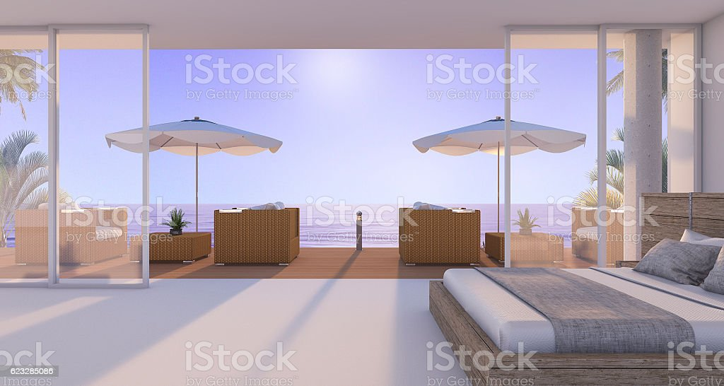 3d rendering wonderful bedroom in twilight scene stock photo