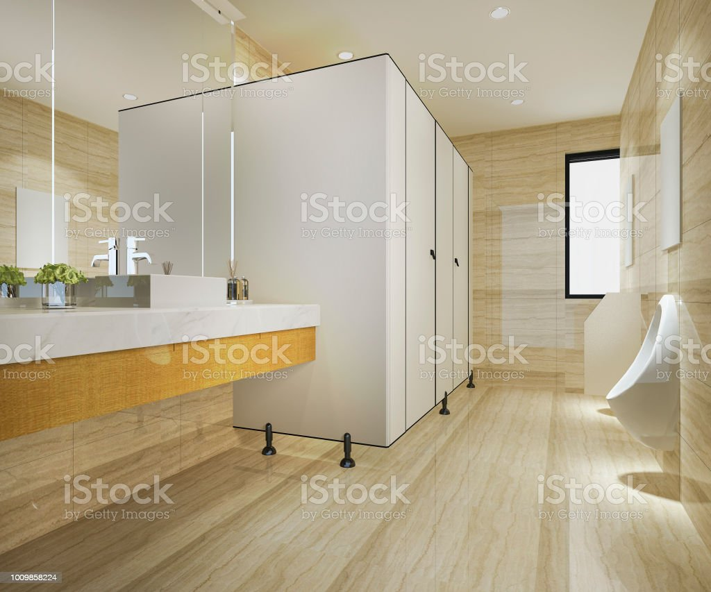 3d Rendering Wood And Modern Tile Public Toilet Stock Photo & More ...