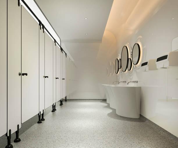 3 Rendering-Holz und moderne Fliesen öffentliche Toilette – Foto