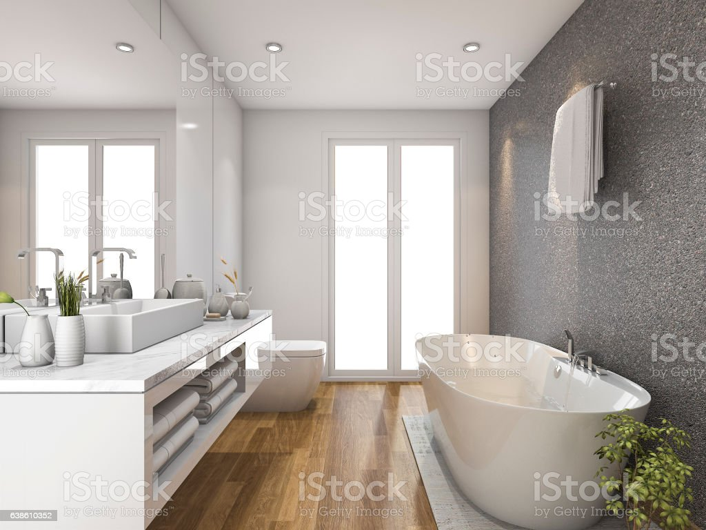 3d rendering wood bathroom and toilet with daylight from window – Foto