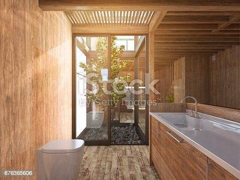 istock 3d rendering wood bathroom near japanese zen rock garden in wood house 676365606