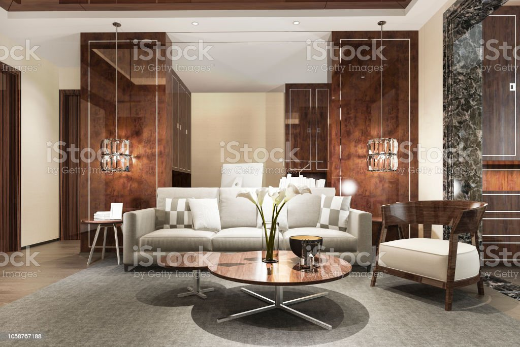 3d Rendering Wood Classic Living Room With Marble Tile And Bookshelf Stock Photo Download Image Now Istock