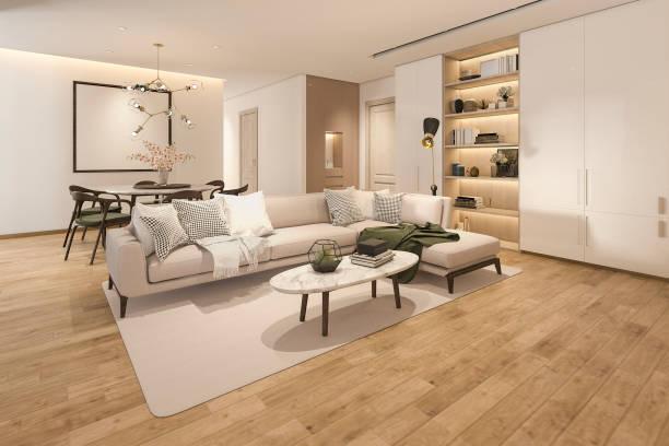 3D Rendering Holz klassische Wohnzimmer mit Marmorfliesen und Bücherregal – Foto