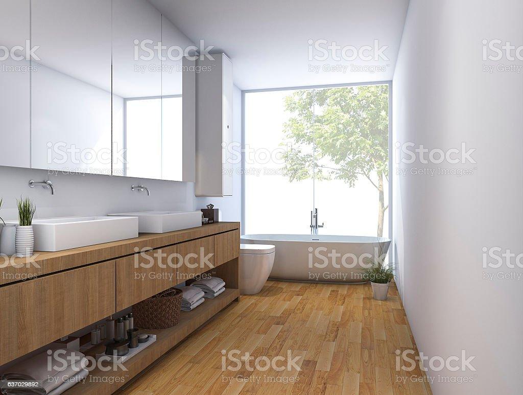 3d Rendering Wood Clean Bathroom With Built In Design Stock Photo ...