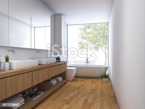 istock 3d rendering wood clean bathroom with built in design 637029892