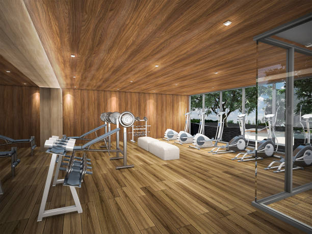 3d rendering wood fitness center stock photo