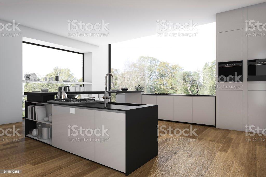 3d Rendering Holz Boden Kuche Und Esszimmer Minimal Stock Fotografie