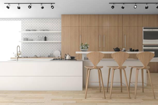 3d rendering holz küche und minimaler dekoration - raumteiler weiß stock-fotos und bilder