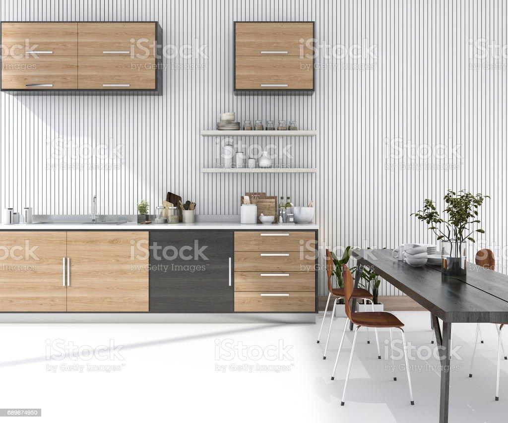 3d Rendering Holz Küchenbar Mit Esstisch Und Stuhl Stock-Fotografie ...