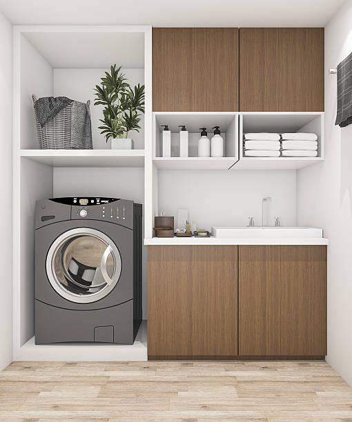 3d rendering wood laundry room with washing machine - sanitäreinrichtung stock-fotos und bilder