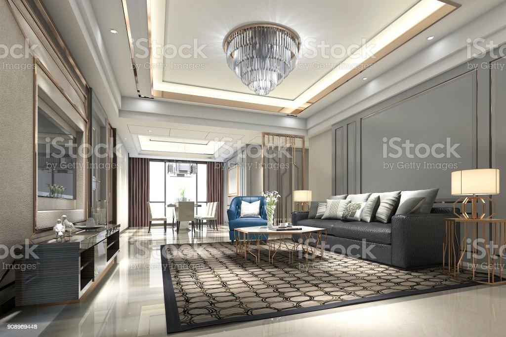 3d Rendering Holz Luxus Und Moderne Wohnzimmer Und Esszimmer ...