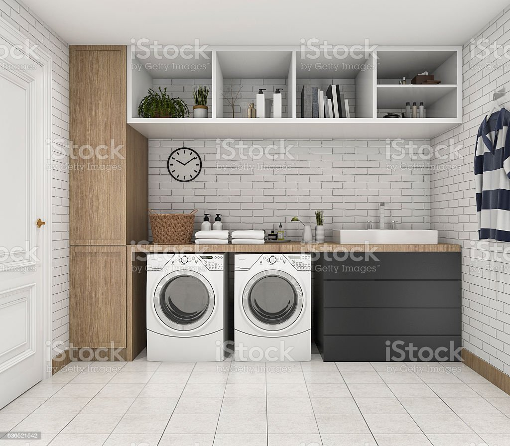 3d rendering wood minimal laundry room with shelf and plant stock photo