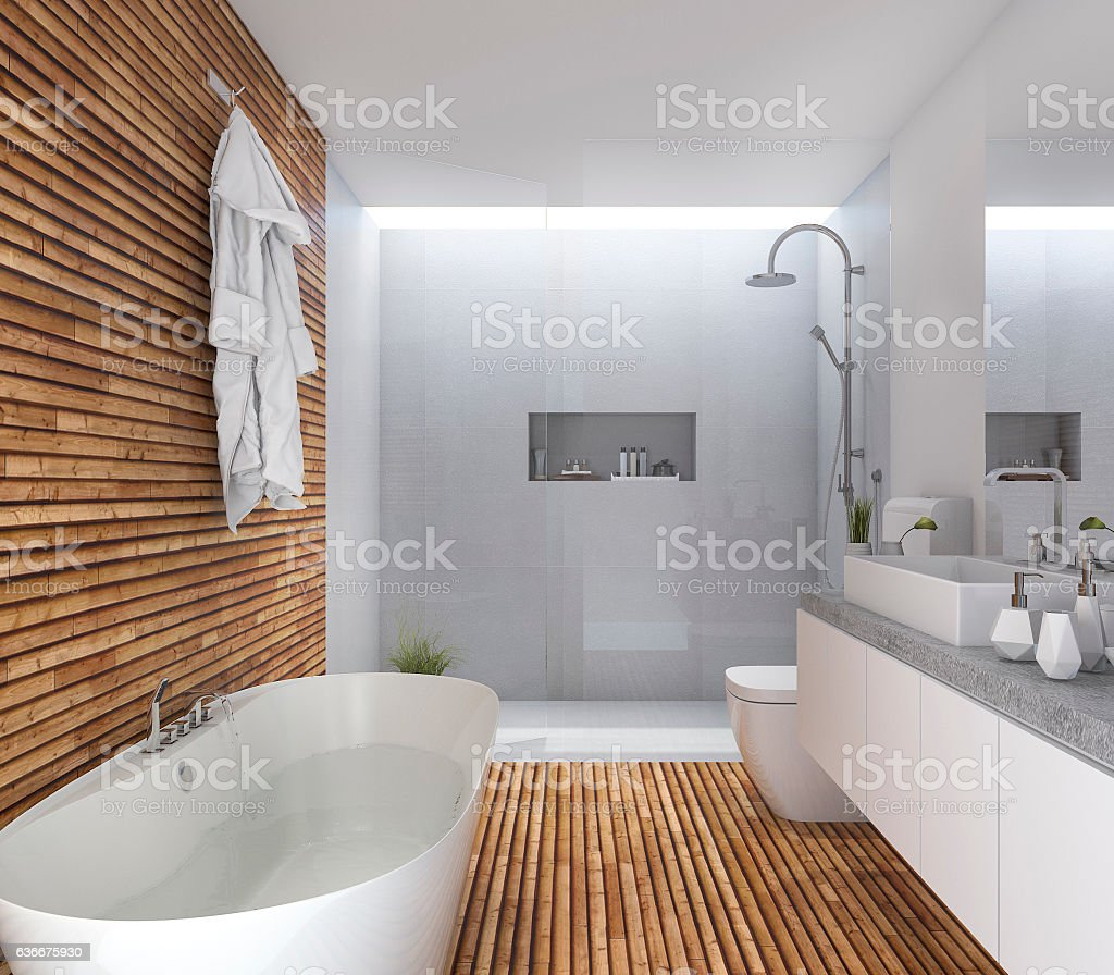 3d rendering wood modern bathroom with nice design – Foto