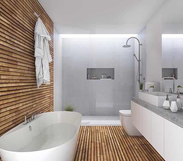 3d rendering wood modern bathroom with nice design - badewanne holz stock-fotos und bilder