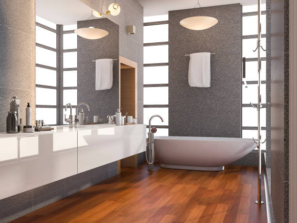 3d rendering holz modernes bad mit fenster und naturstein fliesen wand im sommer - badewanne holz stock-fotos und bilder