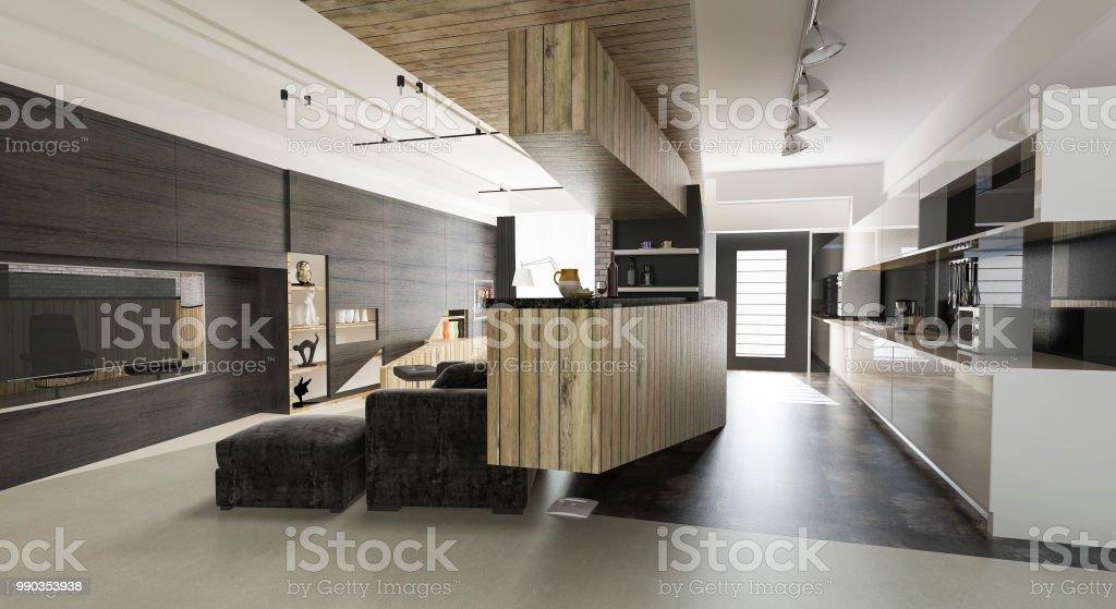 3d Rendering Holz Moderne Wohnzimmer Und Esszimmer Stockfoto ...