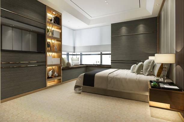 3D Rendering Holz moderne Luxus-Schlafzimmer-Suite mit Bücherregal und Kissen – Foto