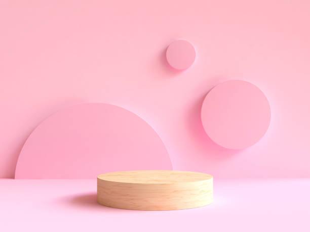 scène de mur rose minime de podiume en bois rendu 3d - demi cercle photos et images de collection