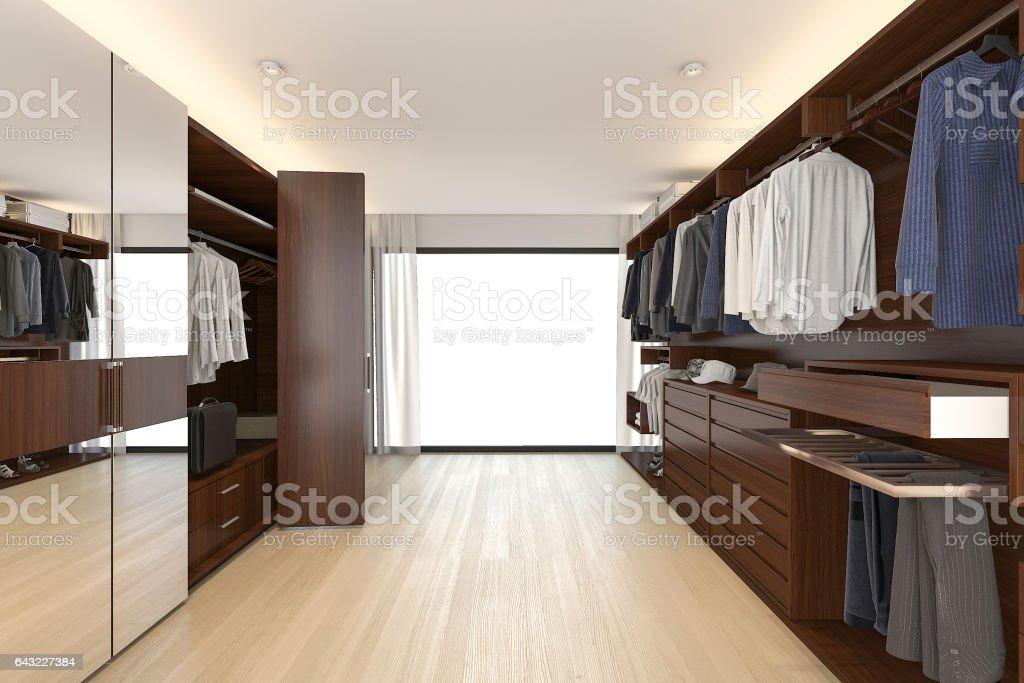 3D Rendering Holz Garderobe und begehbaren Kleiderschrank in der Nähe von Fenster – Foto