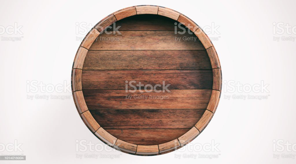 3d rendering wooden barrel on white background stock photo