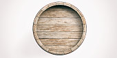 3d rendering wooden barrel on white background