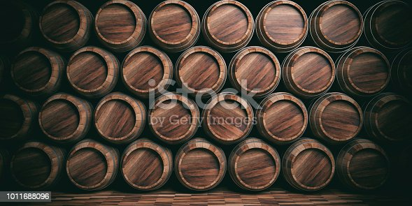 3d rendering old wooden stacked barrels background