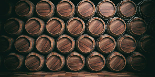 3d rendering wooden barrels background - barrel stock pictures, royalty-free photos & images