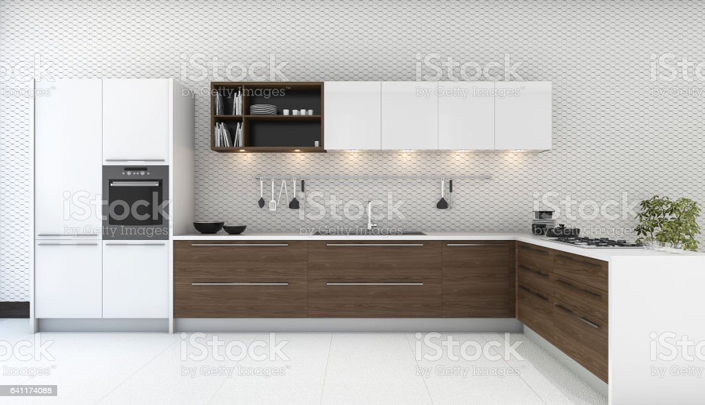 3d Rendering Wooden Decor Kitchen With Nice Wallpaper Stock Photo