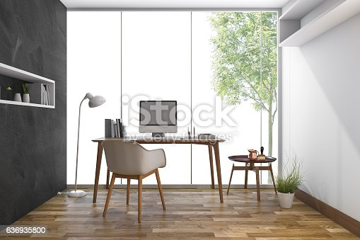 istock 3d rendering working room with nice view from window 636935800