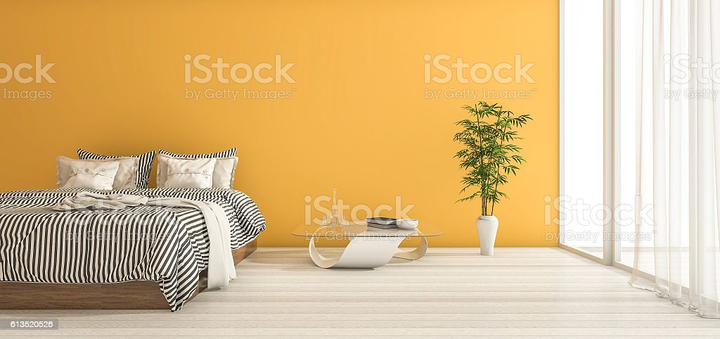 3d rendering yellow bedroom with minimal decor and daylight stock photo