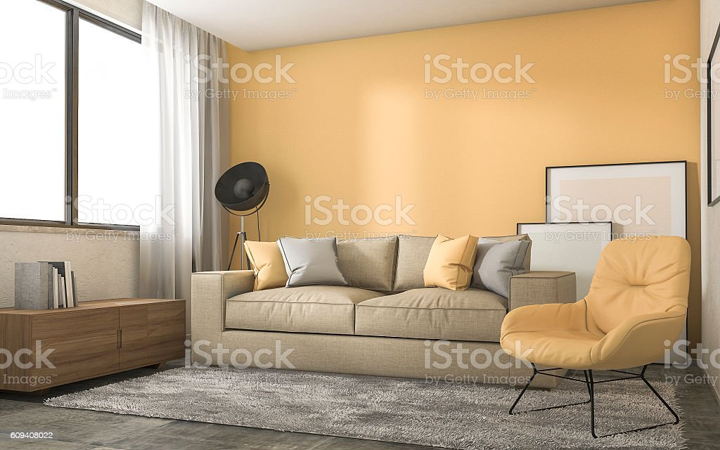 3d rendering yellow loft living room with minimal decoration stock photo