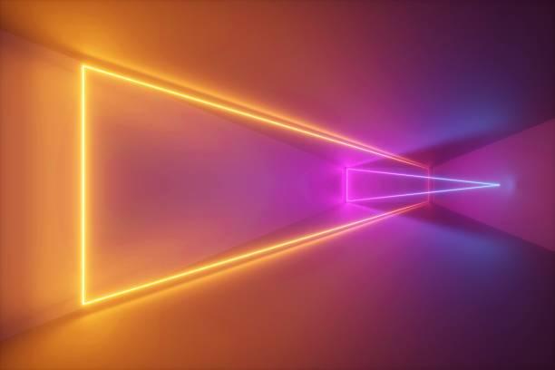 3d 렌더링, 노란색 핑크 네온 빛, 추상 자외선 배경, 동적 빛나는 라인, 환상적인 무대, 생생한 색상, 빈 방, 터널, 복도, 나이트 클럽 인테리어 - 자외선 차단 뉴스 사진 이미지