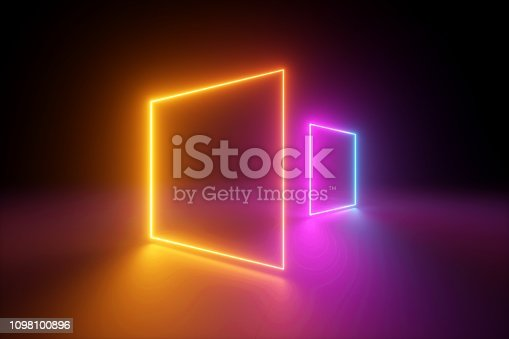 istock 3d rendering, yellow pink squares, neon light, blank frames, abstract ultraviolet background, glowing lines, portal, vibrant colors, empty virtual windows, night club interior, fashion podium 1098100896