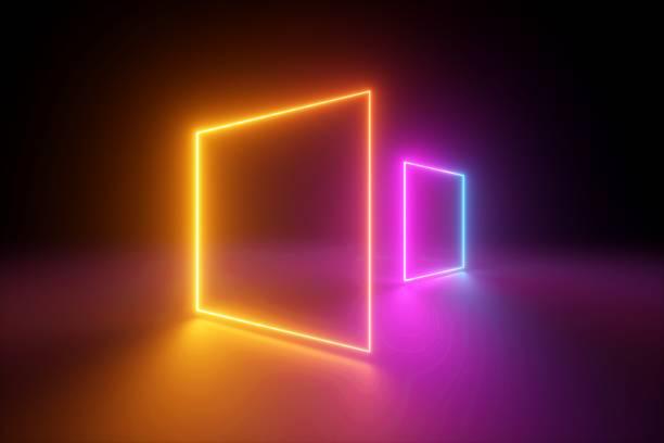 3d 渲染, 黃色粉紅色的正方形, 霓虹燈, 空白的框架, 抽象的紫外線背景, 發光的線條, 門戶, 充滿活力的顏色, 空的虛擬視窗, 夜總會內部, 時尚講臺 - 霓虹燈 個照片及圖片檔