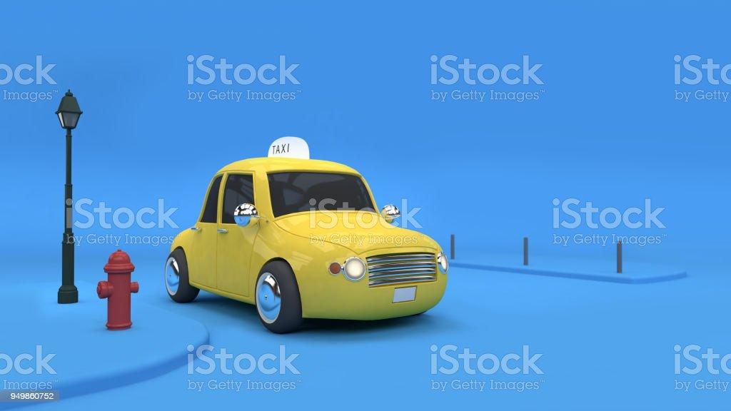 3D-Rendering Yellow Taxi Stadt Transport Business-Konzept – Foto
