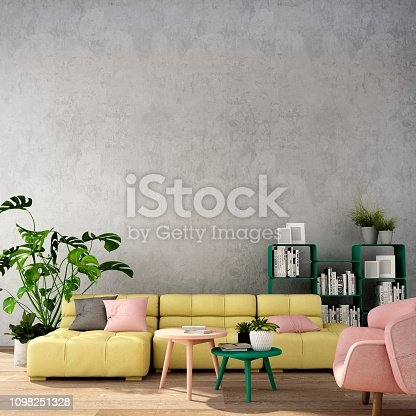 3d rendering,3d illustration,interior design for living area or reception in modern style with sofa and armchair, table,plant on wood floor and concrete wall