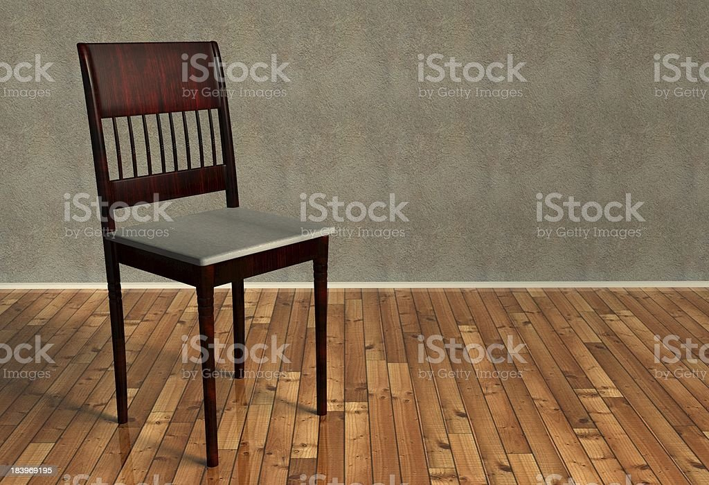 3d renovated retro chair on wooden floor royalty-free stock photo