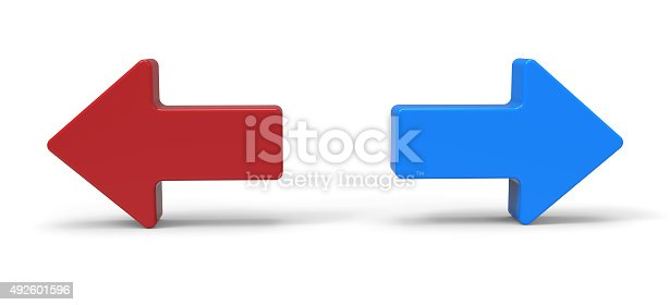 838721578 istock photo 3d right and left arrow 492601596