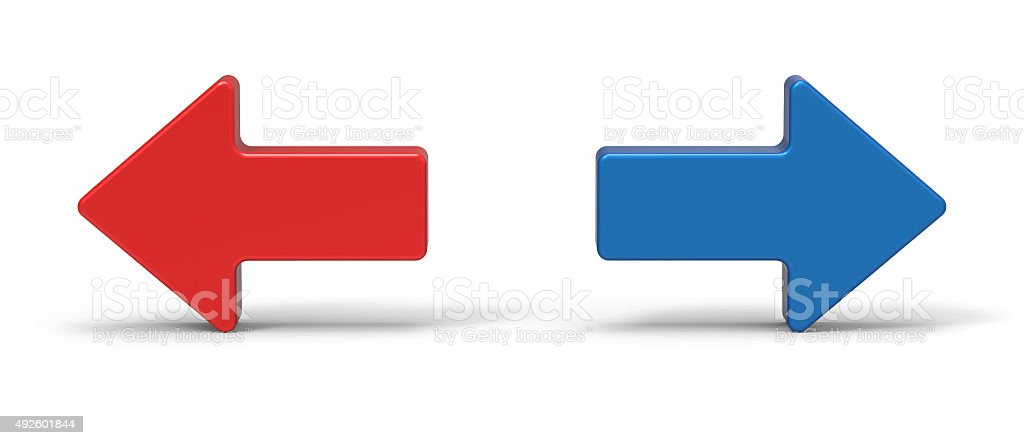 3d right and left arrow stock photo